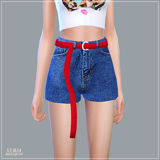 SIMS4 Marigold: Retro Long Belt Hot Pants
