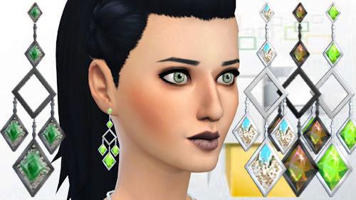 La Luna Rossa Sims: Rombus gem earrings