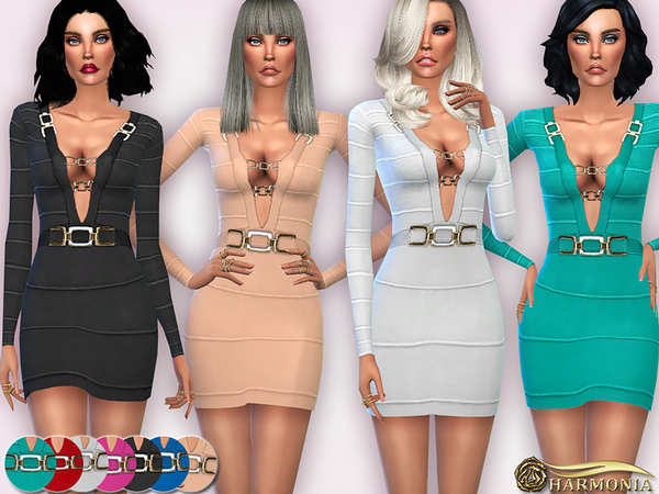 The Sims Resource: Metal Inserts Bandage Dress by Harmonia