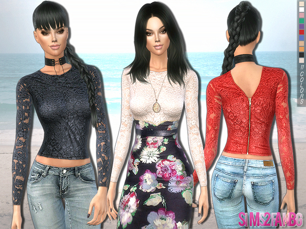The Sims Resource: 220   Floral lace top by sims2fanbg