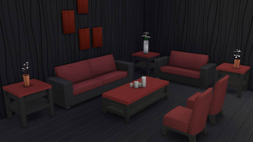 La Luna Rossa Sims: Squarely There Modern Livingroom Set