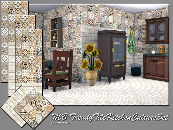 The Sims Resource: Trendy Tile Kitchen Culture Set  by matomibotaki