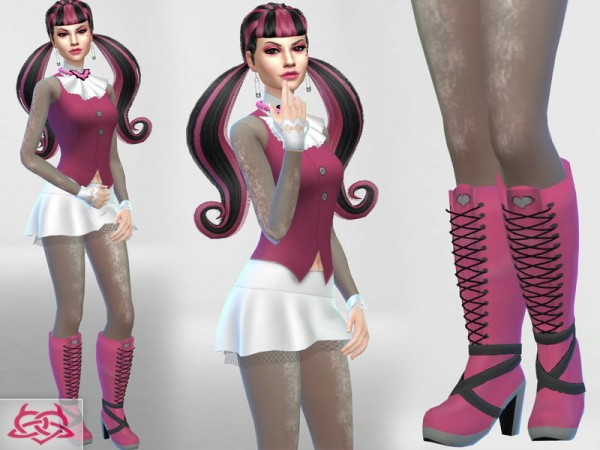 The Sims Resource: Draculaura set clothes and boots by Colers Urbanos