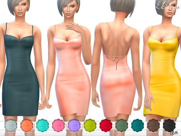 The Sims Resource: Criss cross Back Mini Dress by ekinege
