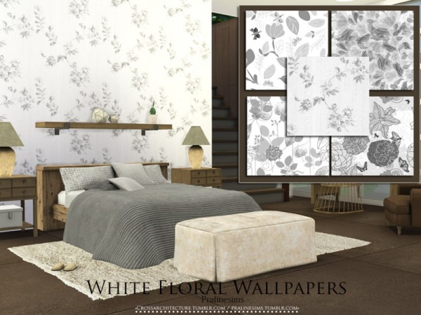 The Sims Resource: White Floral Wallpapers by Pralinesims
