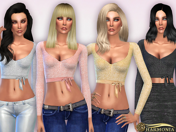 The Sims Resource: Wrapped Cut Out Sequin Crop Top by Harmonia