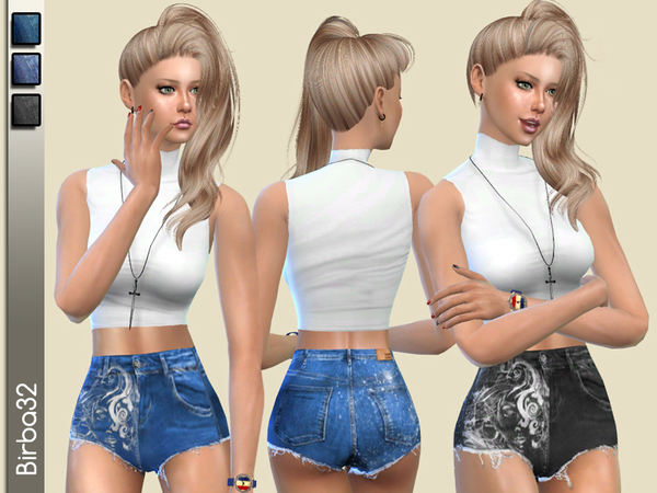 The Sims Resource: Denim shorts high waisted by Birba32