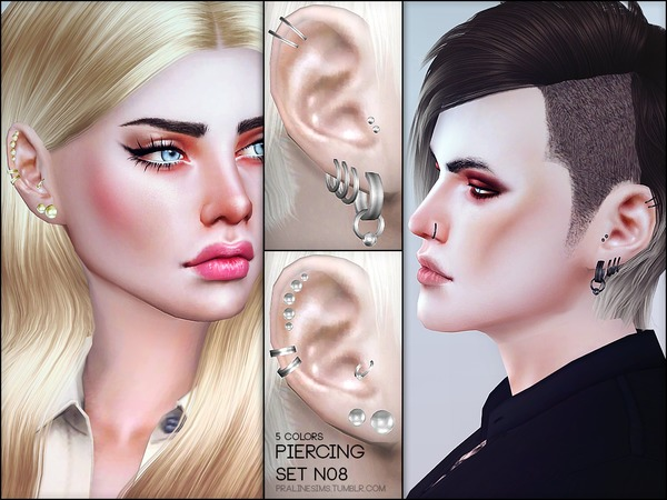 The Sims Resource: Piercing Set N08 by Pralinesims