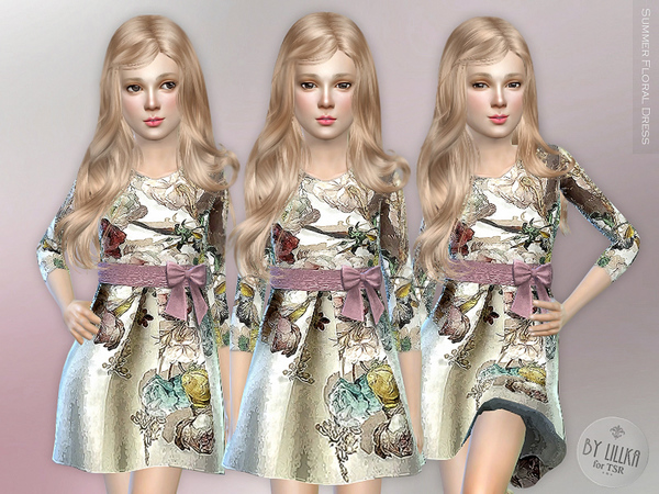 The Sims Resource: Summer Floral Dress by lillka