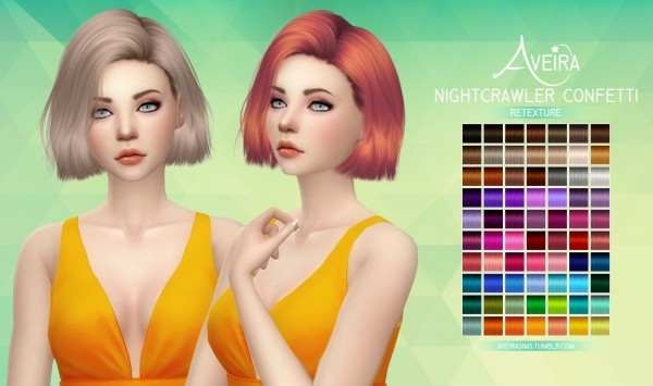Aveira Sims 4: Nightcrawler Confetti hair retextured