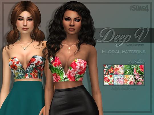 Trillyke: Deep V Plunge Bustier   Floral Patterns