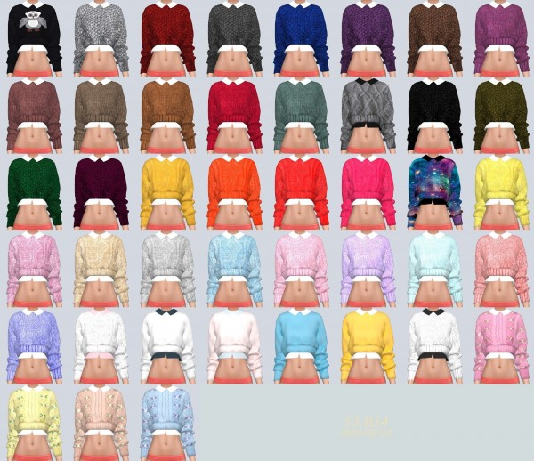 Sims4 Marigold Crop Knit Sweater With Shirts Sims 4