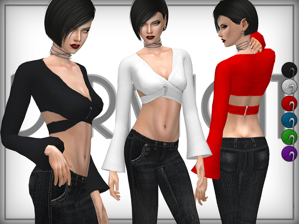 The Sims Resource: Cropped Wrap Top by DarkNighTt