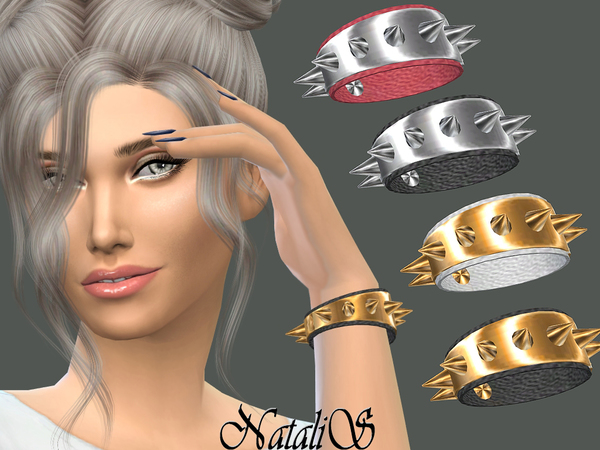 The Sims Resource: Metal spikes bracelet by NataliS