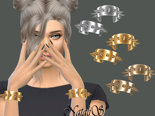 The Sims Resource: Metal spikes cuffs by NataliS