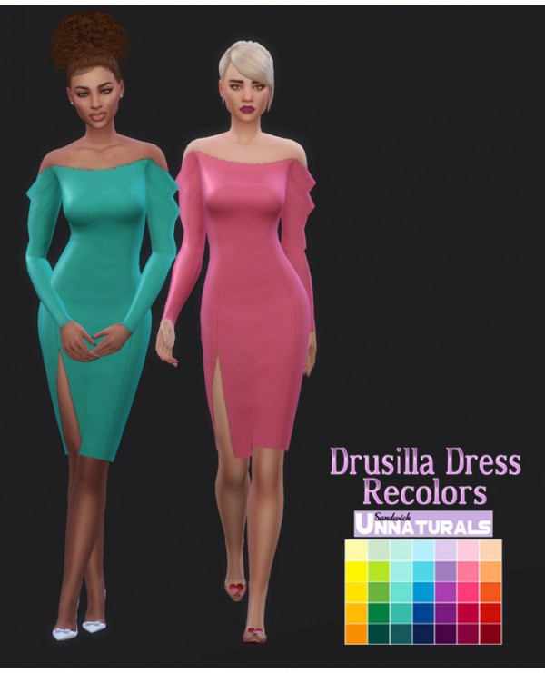 Simsworkshop: Drusilla Dress Recolors