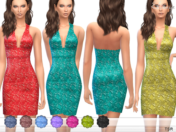 The Sims Resource: Lace Overlay Halter Dress by ekinege