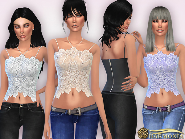The Sims Resource: Lace Halterneck Cami Halter Top by Harmonia