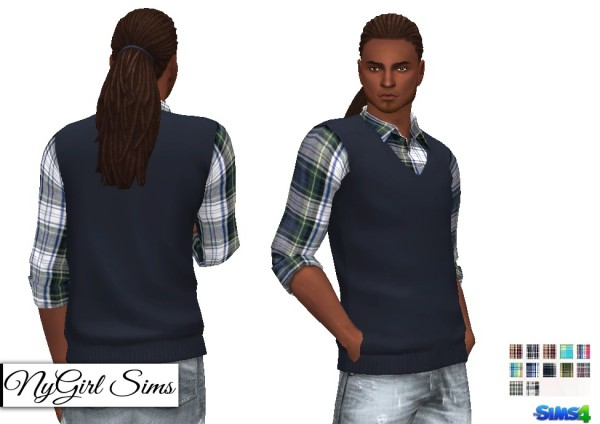 NY Girl Sims: Vest with Plaid Button Up