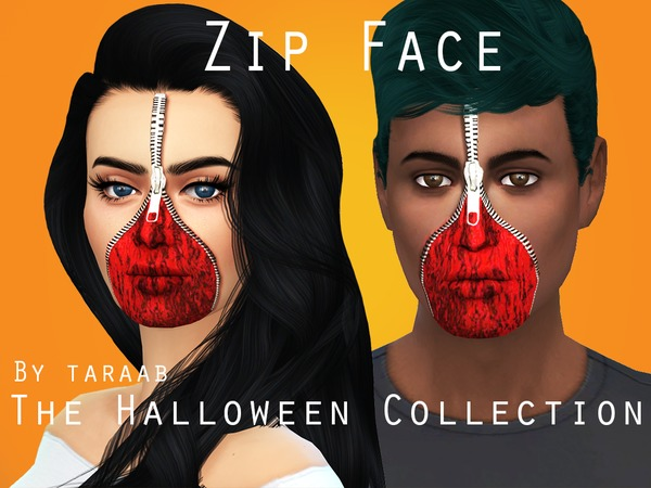 The Sims Resource: The Halloween Collection   Zip Face by taraab