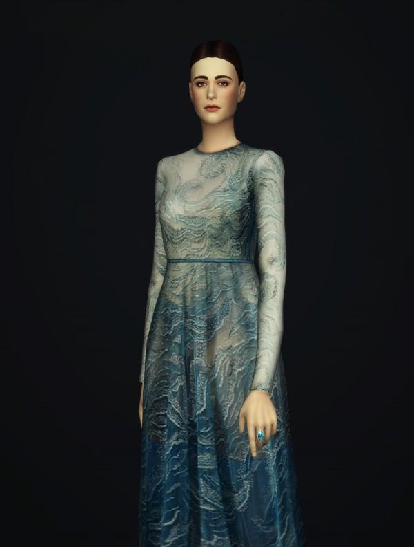 Rusty Nail: Glitter blue wave gown dress