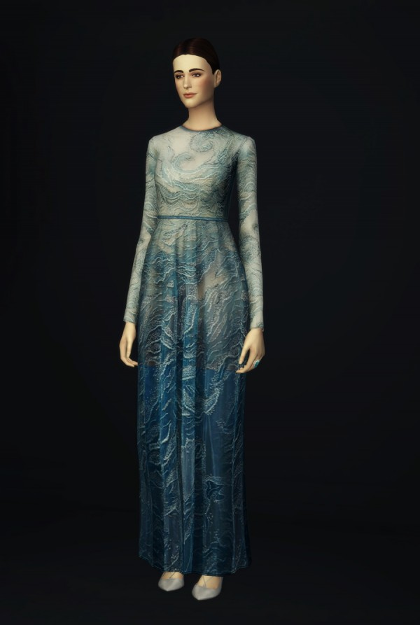 Rusty Nail: Glitter blue wave gown dress