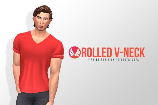 Simsational designs: Rolled V neck Tee