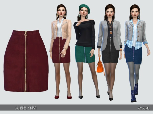 The Sims Resource: Suede skirt by Paogae