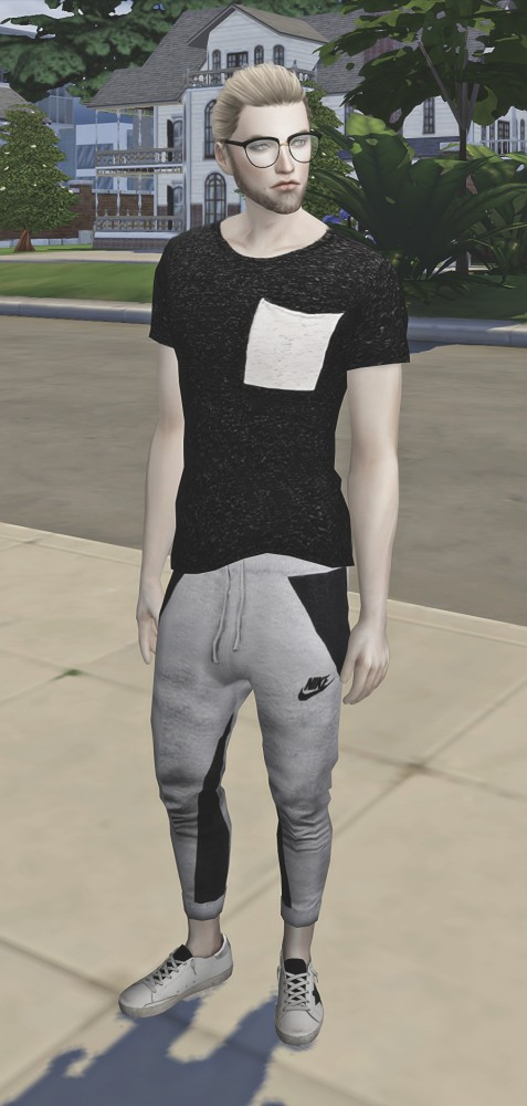 LuxySims: Contrast Shirt Pocket for males