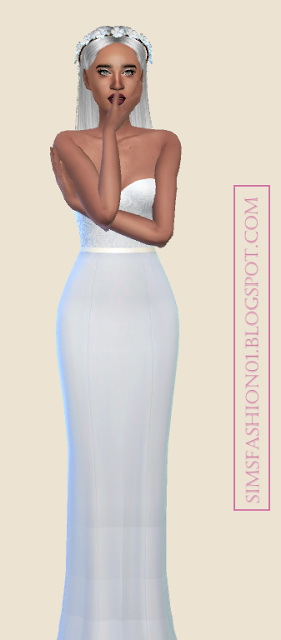 Sims Fashion 01: Floral Wedding Dress