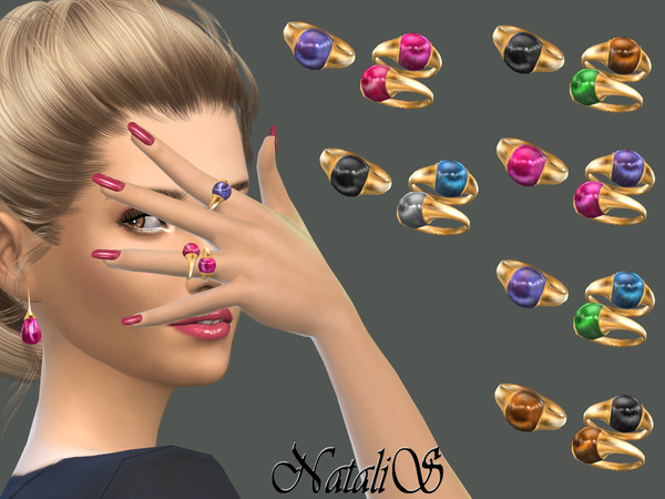 The Sims Resource: Cabochon rings set by NataliS