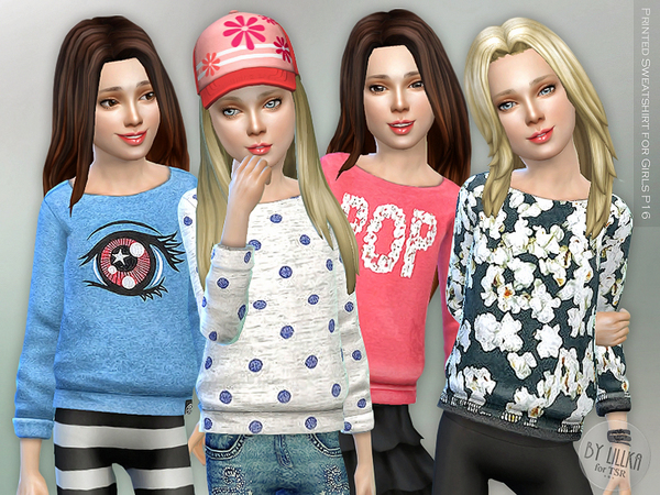 The Sims Resource: Printed Sweatshirt P16 by lillka