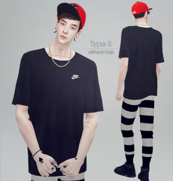 kk sims: T Shirts with Cap