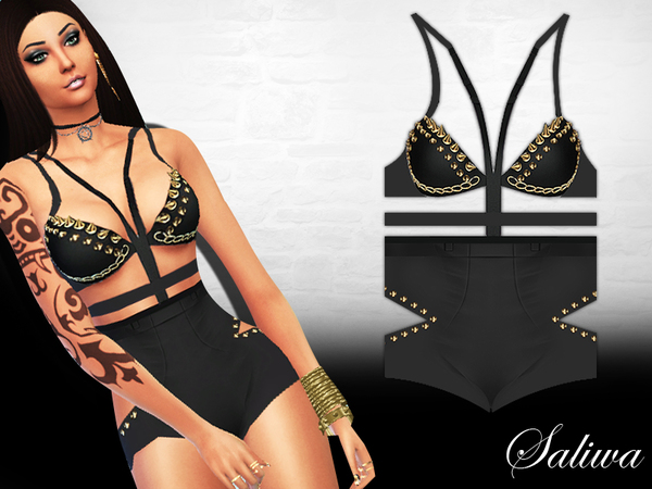 The Sims Resource: In Flames Bodysuit by Saliwa