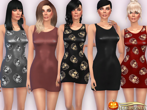 The Sims Resource: Form fitting Dress in Faux Leather by Harmonia