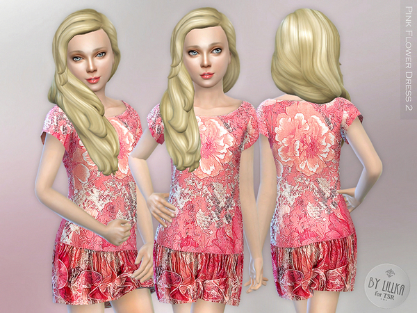 The Sims Resource: Pink Flower Dress 2 by lillka
