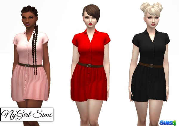 NY Girl Sims: Collared Button Down Dress with Belt
