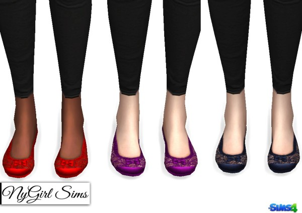 NY Girl Sims: Lace and Bow Ballet Flats