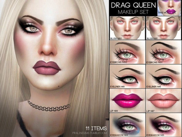 The Sims Resource: Drag Queen Makeup Set by Pralinesims