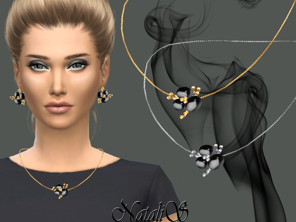 The Sims Resource: Onyx flower pendant  by NataliS