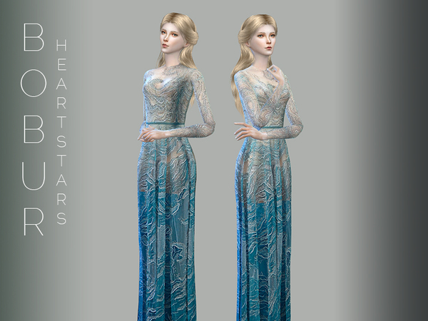 The Sims Resource: Bobur heart stars gown by Devirose