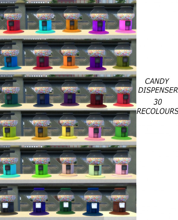 Mod The Sims: Functional candy Dispenser with Edible Candies by icemunmun
