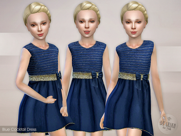 The Sims Resource: Blue Cocktail Dress by lillka
