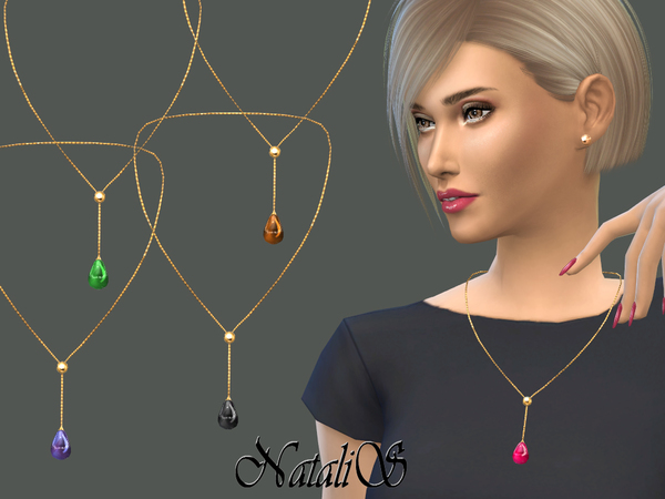 The Sims Resource: Teardrop cabochon necklace by NataliS