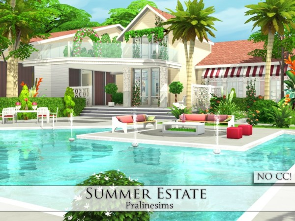 The sims resource summer estate by pralinesims sims 4 for Beach house 3 free download