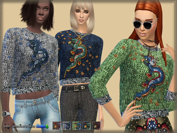 The Sims Resource: Sweater Dragon by bukovka