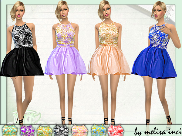 The Sims Resource: Halter High Neck Dress by melisa inci