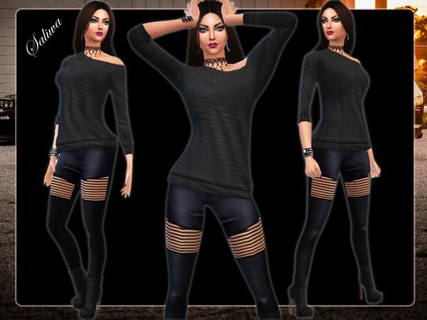 The Sims Resource: Ella Leather Pants Leggings by Saliwa