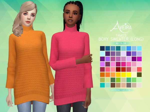 Aveira Sims 4: Tamo's Boxy Sweater (Long)   Recolor