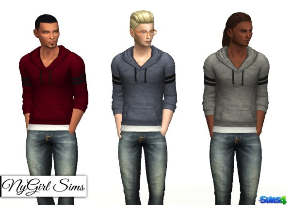 NY Girl Sims: Varsity Striped Hooded Sweater with Undershirt